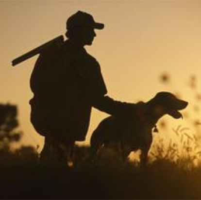 Hunter and dog at sunset
